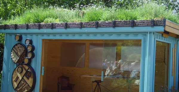 Shed with green roof at Chelsea Flower Show