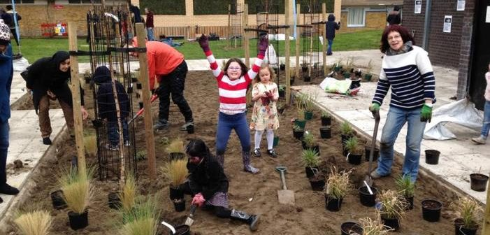 Volunteers planting Cable Gardens