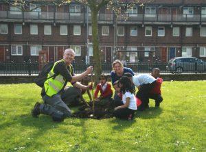 Children planting elm