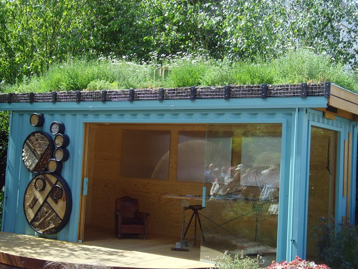 Shed with green roof and bug walls