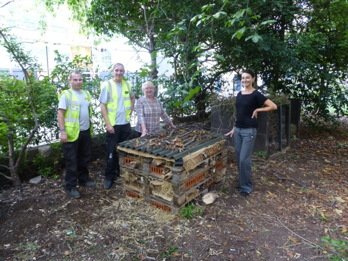 Volunteers with insect house
