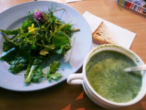 Nettle soup and wild leaf salad