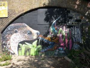 Otter and crocodile mural