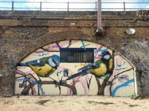Blue and Great Tit mural