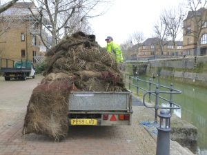 Vegetated mats on truck