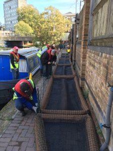 Volunteers assembling vegetated rafts