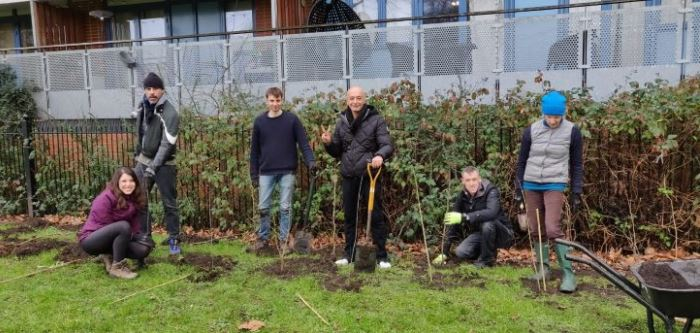 Planting a hedge in Meath Gardens