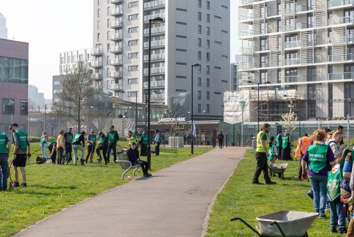 Community tree planting event at Langdon Park