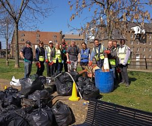 Volunteers with rubbish removed from canal