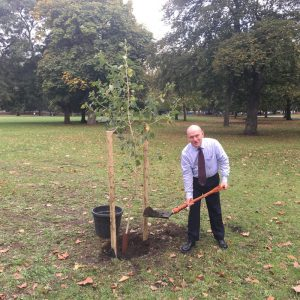 Mayor of Tower Hamlets planting a tree