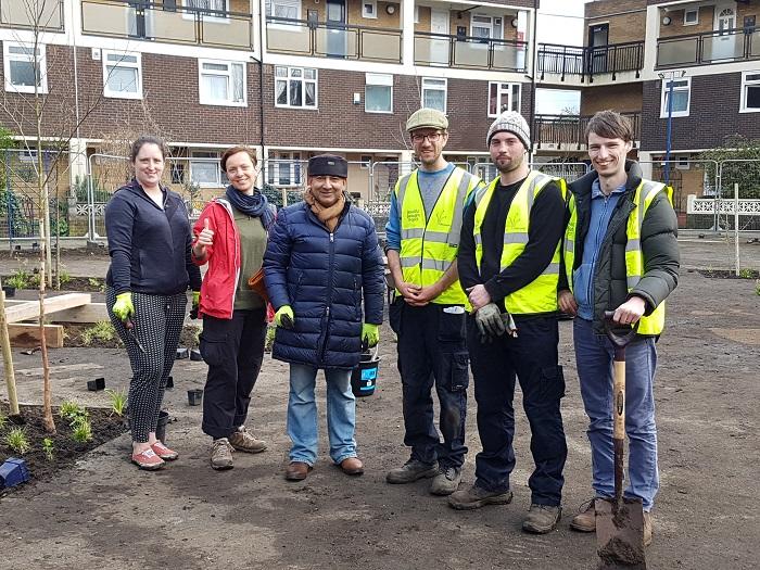 Community volunteers in Ambrose Square