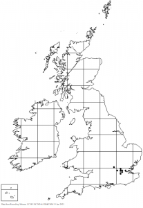 Map of the distribution of Saprosites natalensis in the British Isles
